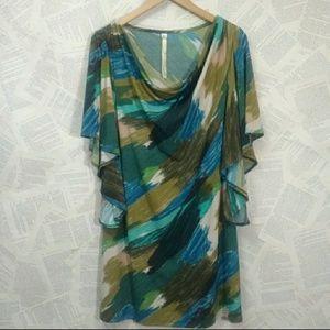 Uncle Frank Green & Blue Brush Stroke Dress M